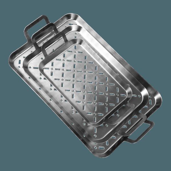 Grillkorb | Grillblech 3er Set, edelstahl