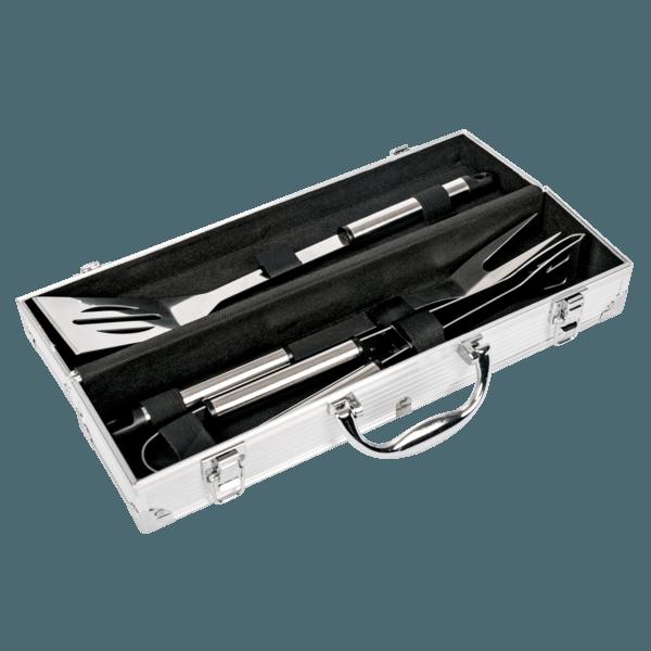 Grillbesteck 3-teilig mit Koffer aus Alu
