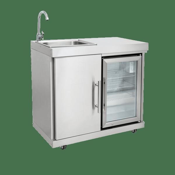 Edelstahl-Erweiterungsmodul mit Kühlschrank &...