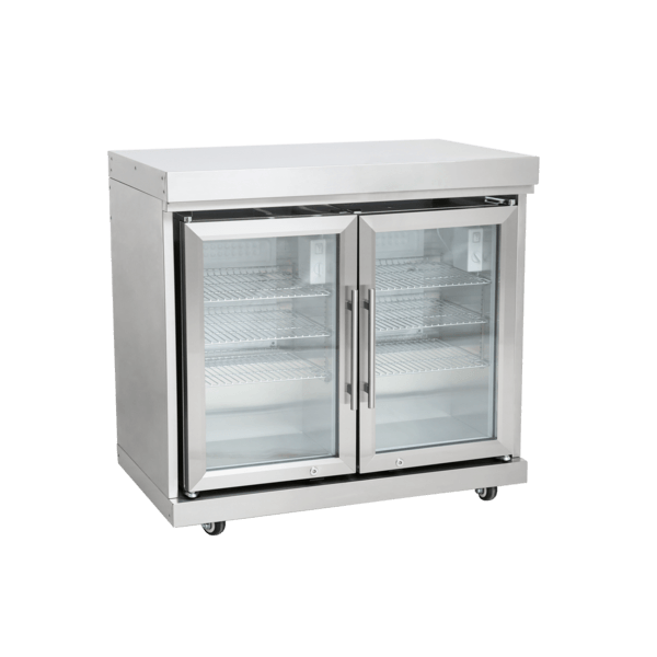 Edelstahl-Erweiterungsmodul mit Doppelkühlschrank